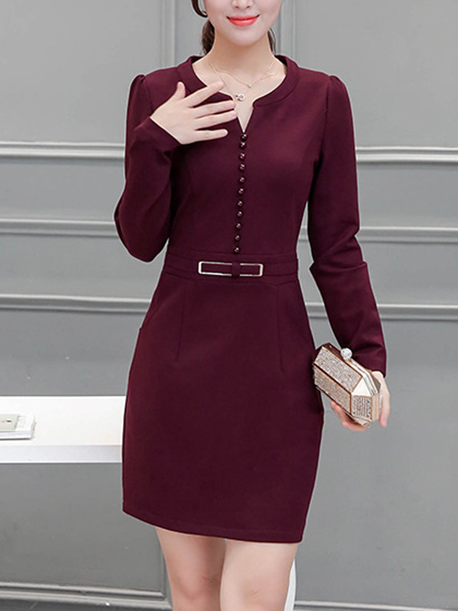 Split Neck Pocket Plain Bodycon Dress