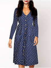 V-Neck  Patch Pocket Single Breasted  Polka Dot Printed Skater Dress