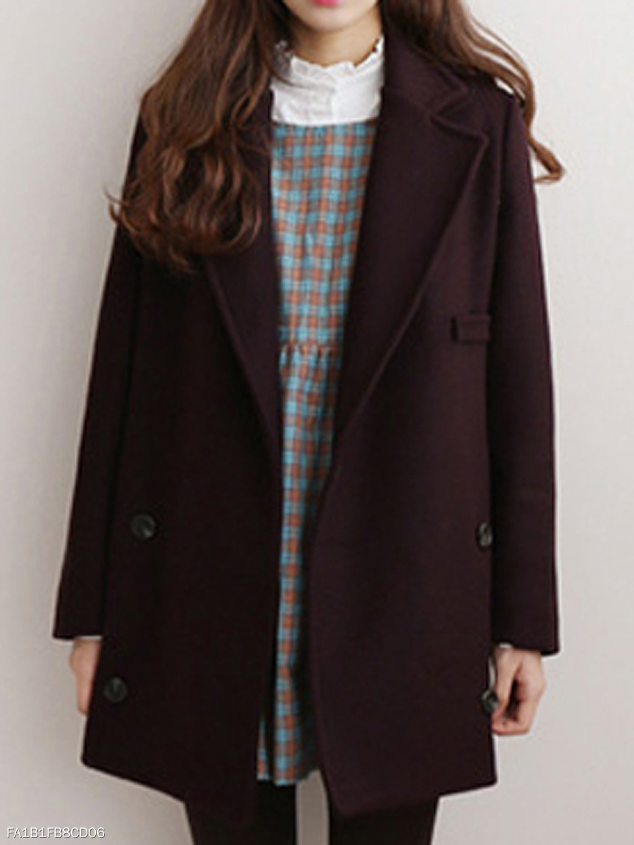 Lapel Double Breasted Pocket Plain Coat