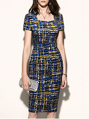 Square Neck  Printed Bodycon Dress