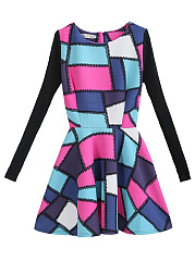 Round Neck Color Block Geometric Skater Dress