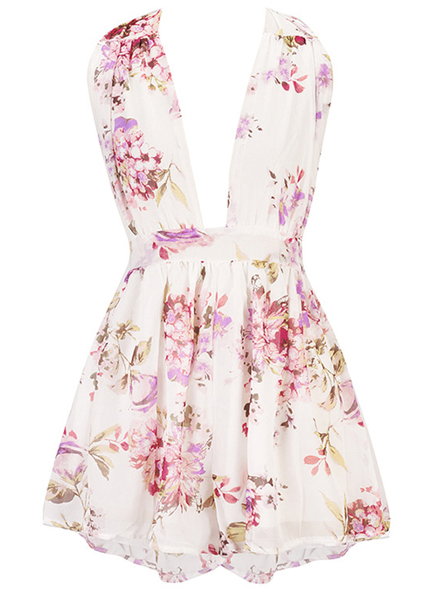 Multi-Way Floral Printed Chiffon Wide-Leg Romper