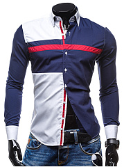 Modern Color Block Men Turn Down Collar Shirts