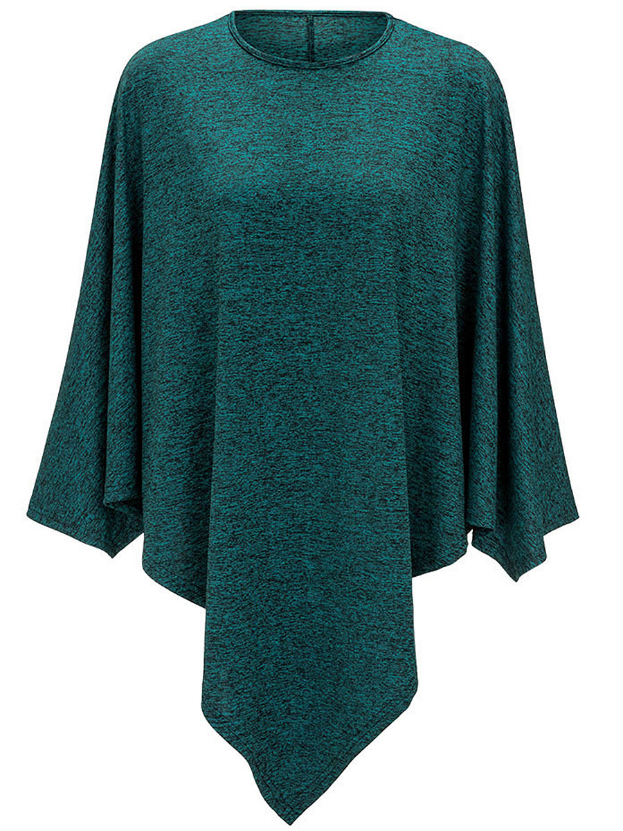 Round Neck Asymmetric Hem Plain Cape