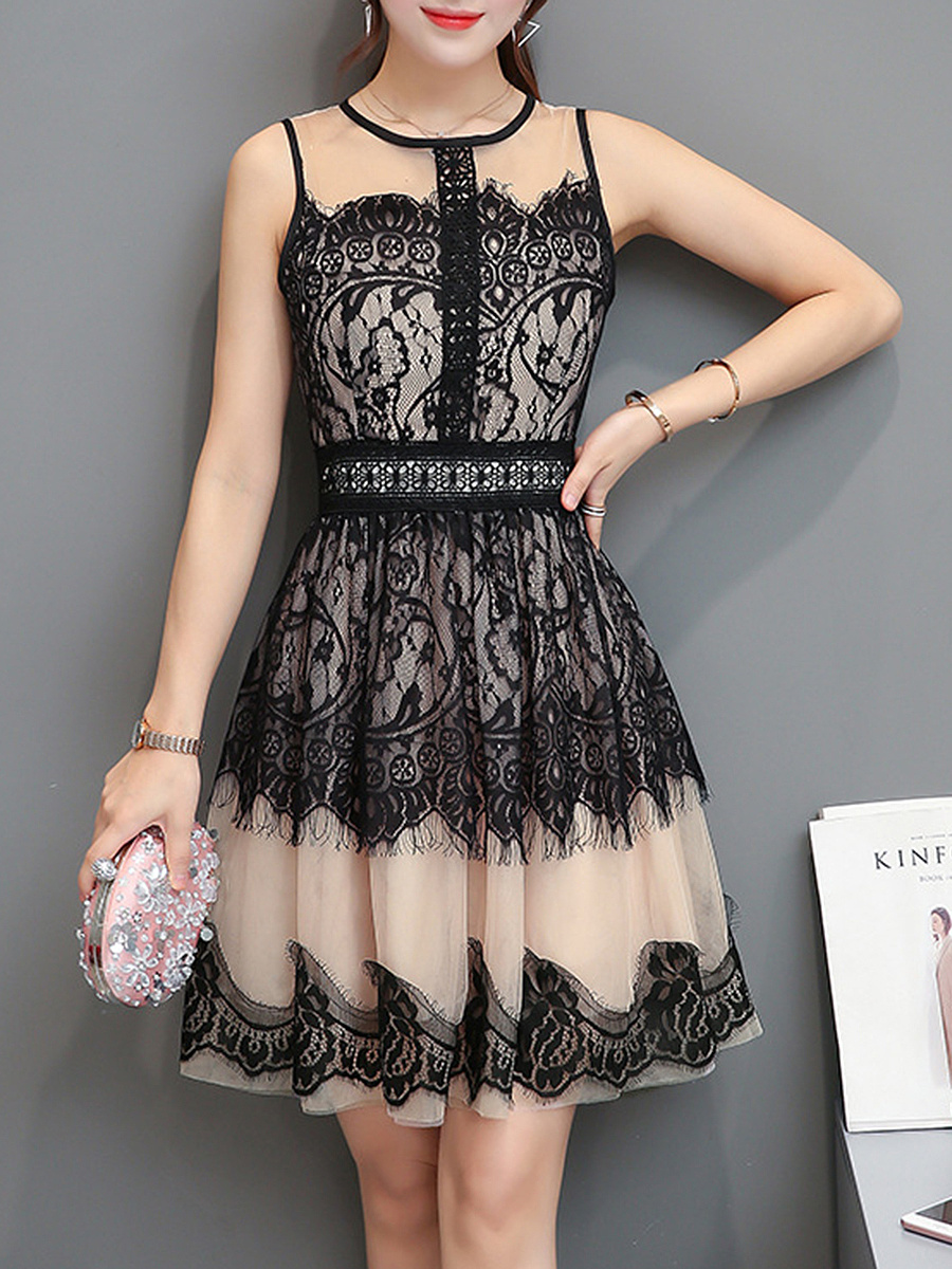 Round Neck Lace See-Through Skater Dress