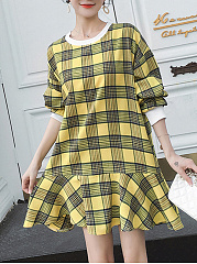 Round Neck  Plaid Casual Midi Shift Dress