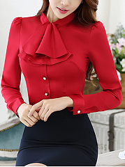 Band Collar  Flounce  Plain Blouse