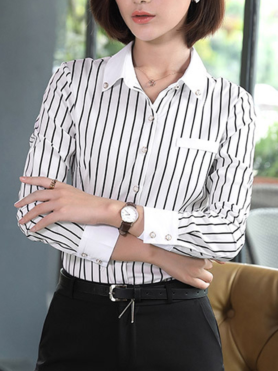 Turn Down Collar  Vertical Striped Blouse