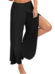 Solid Slit Wide-Leg Yoga Pants