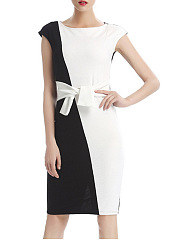 Boat Neck  Bowknot  Color Block  Blend Bodycon Dress