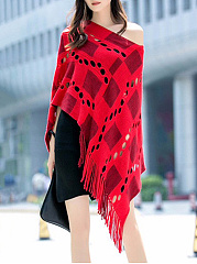 V-Neck  Fringe  Plaid  Cape Sleeve Cape