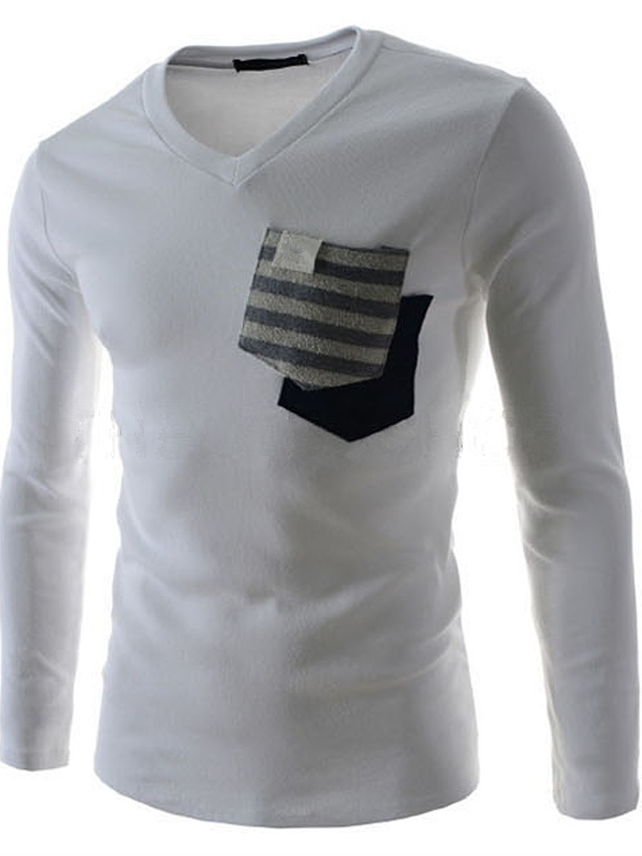 Men V-Neck Contrast Striped Patch Pocket  T-Shirt
