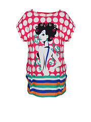 Cartoon-Polka-Dot-Striped-Printed-Plus-Size-T-Shirt