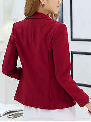 Notch Lapel  Single Button  Plain  Long Sleeve Blazers