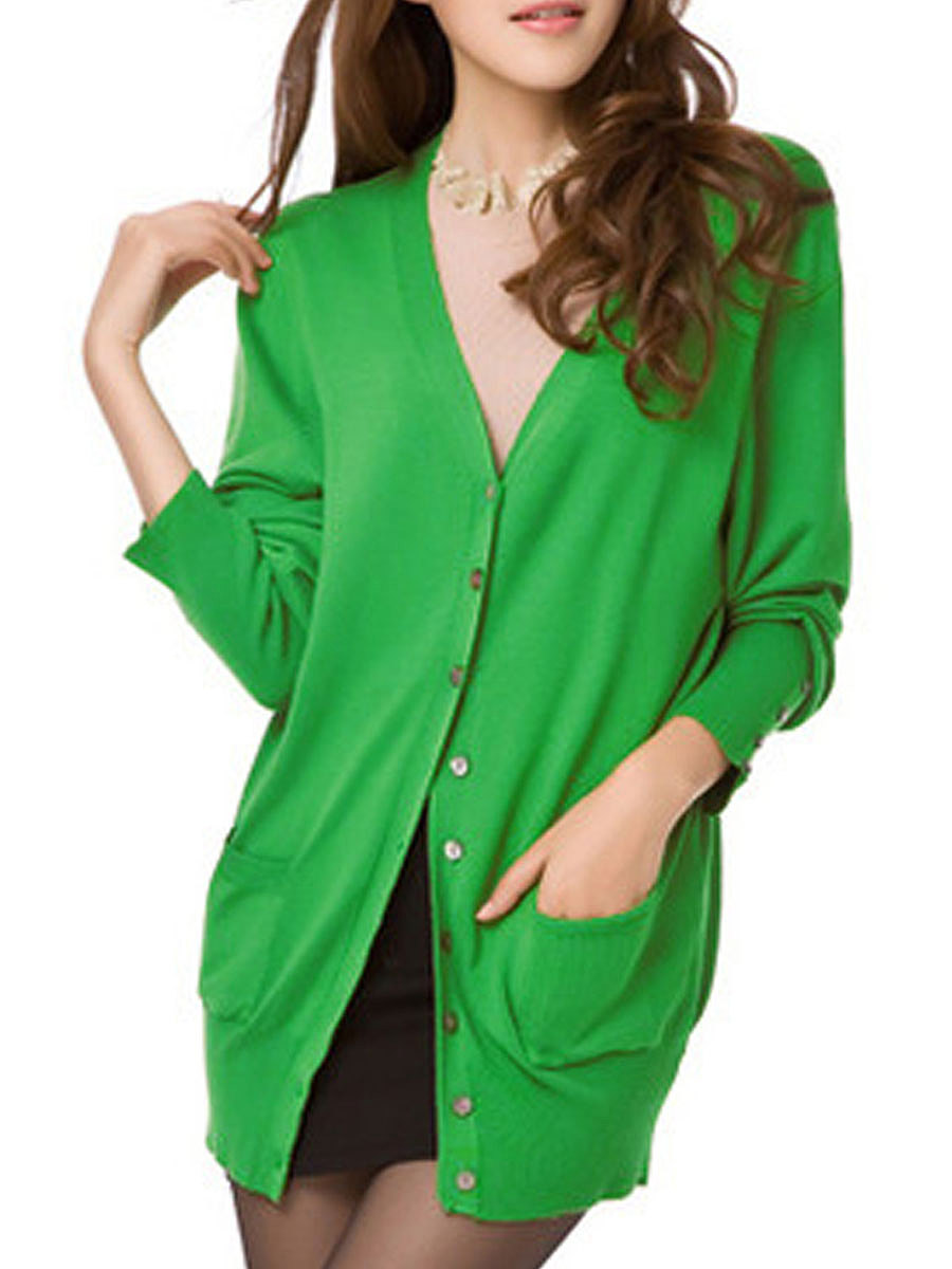 Collarless  Single Breasted  Decorative Button  Plain Cardigans