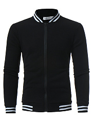 Striped-Band-Collar-Pocket-Men-Jacket