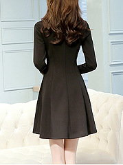 Tie Collar Contrast Bowknot Skater Dress