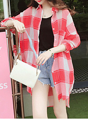 Summer  Cotton/Linen  Women  Fold-Over Collar  Single Breasted  Plaid  Three-Quarter Sleeve Blouses