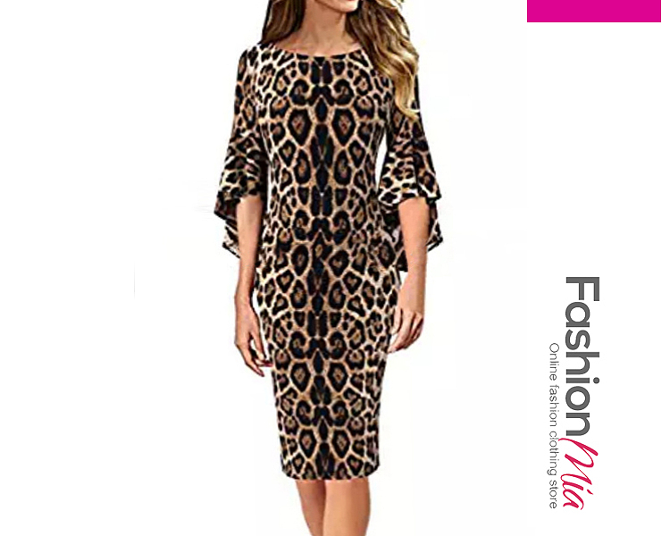 Boat Neck Animal Printed Irregular Horn Sleeves Bodycon Dress