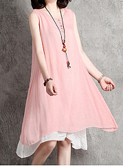 Round Neck  Decorative Button Skater Dress