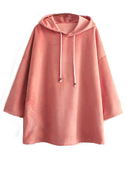 Hooded  Drawstring  Plain  Long Sleeve Hoodies