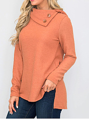 Autumn Winter  Polyester  Women  Decorative Button  Plain Long Sleeve T-Shirts