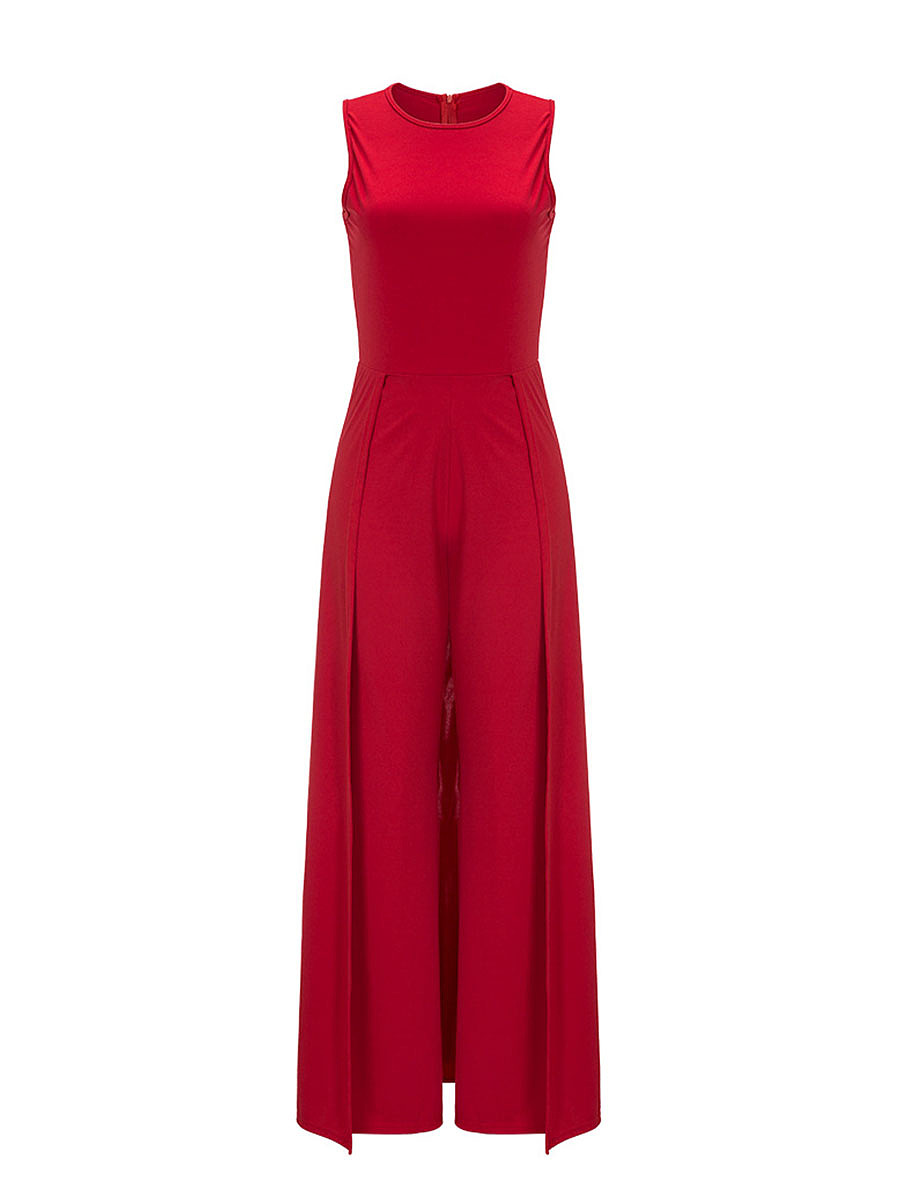 Solid Round Neck Maxi Jumpsuit In Red