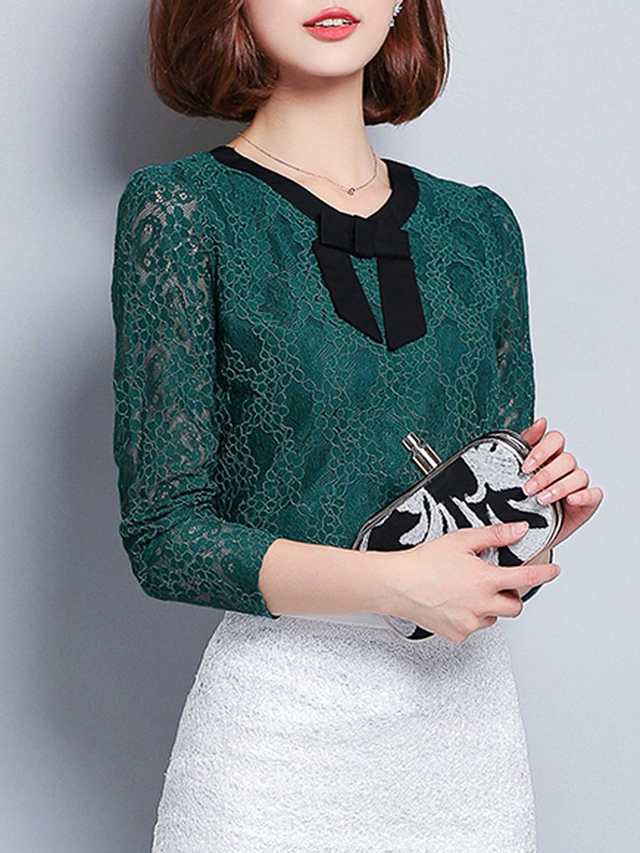 V-Neck  Bowknot Lace Hollow Out Long Sleeve T-Shirt