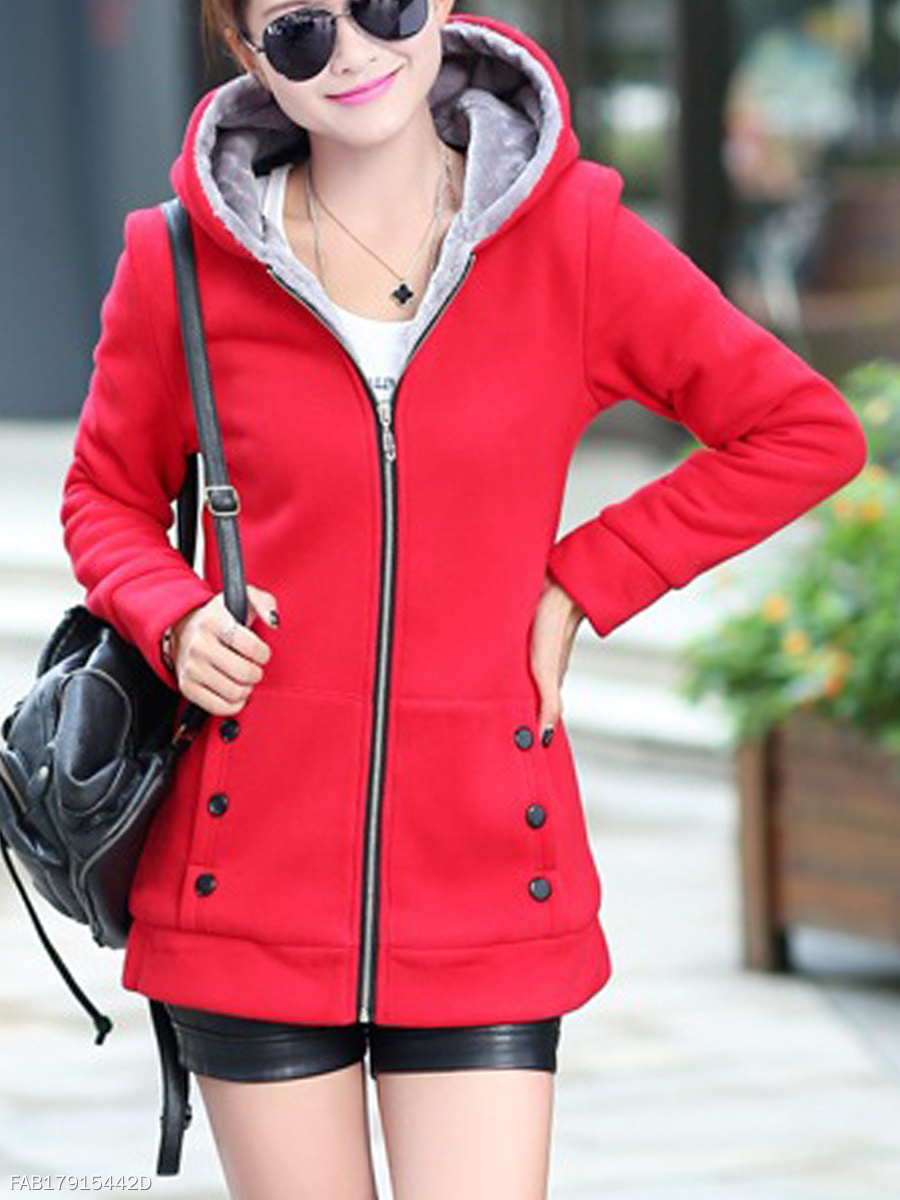 Patch Pocket Snap Front Hoodie