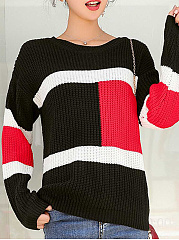 Round Neck  Patchwork  Color Block Knit Pullover