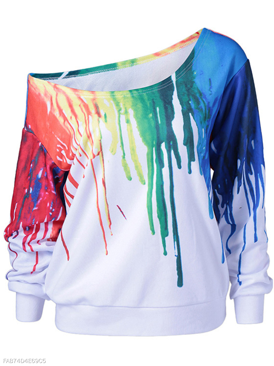 Special Printed One Shoulder Sweatshirt