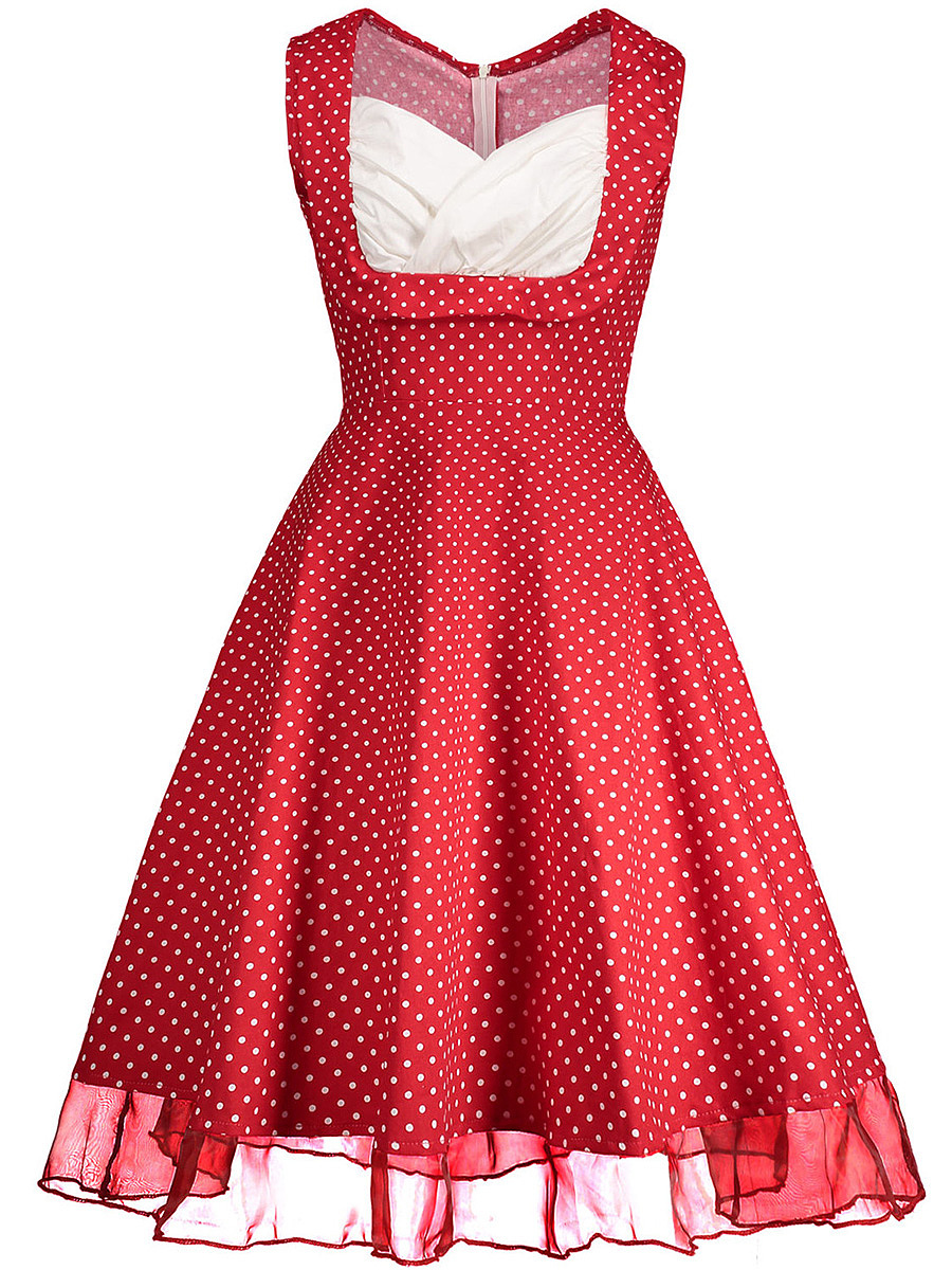 Vintage Sweet Heart Polka Dot Sleeveless Skater Dress
