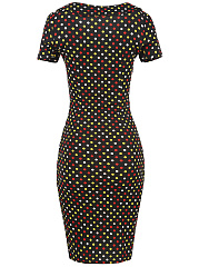 Tie Collar  Bowknot  Polka Dot  Blend Bodycon Dress