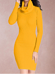 Cowl Neck  Cutout  Crochet  Plain Bodycon Dress