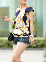 Summer  Polyester  Women  Round Neck  Abstract Print Floral  Extra Short Sleeve Blouses