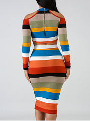 Crew Neck  Two Way  Striped Bodycon Dress
