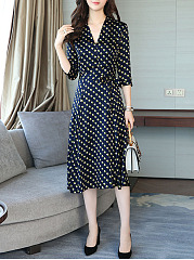 V-Neck Polka Dot Bowknot Maxi Dress