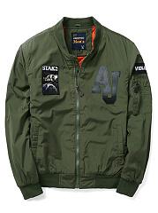 Band-Collar-Badge-Plain-Men-Bomber-Jacket