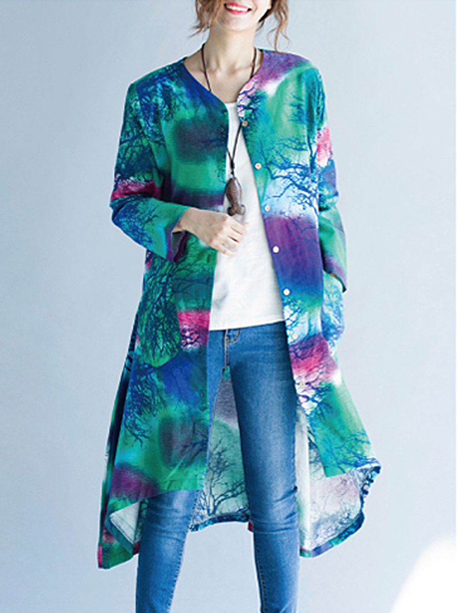 Collarless  Abstract Print  Long Sleeve Trench Coats