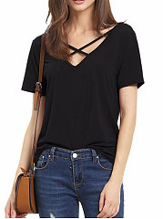 Summer-Polyester-Women-Surplice-Plain-Short-Sleeve-T-Shirts