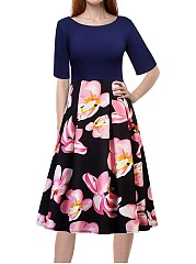 Vintage Elegant Floral Printed Round Neck Dress