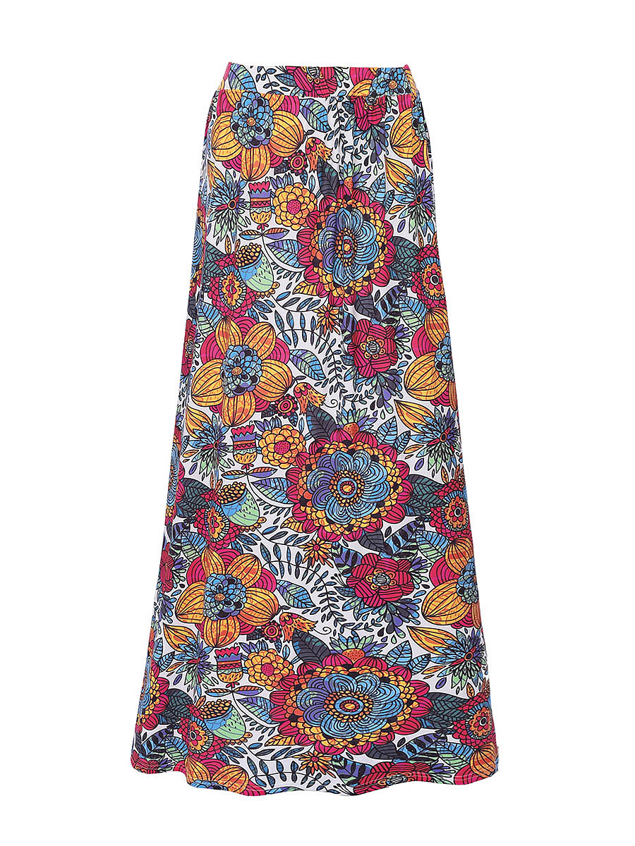 Delightful Floral Printed Flared Maxi Skirt