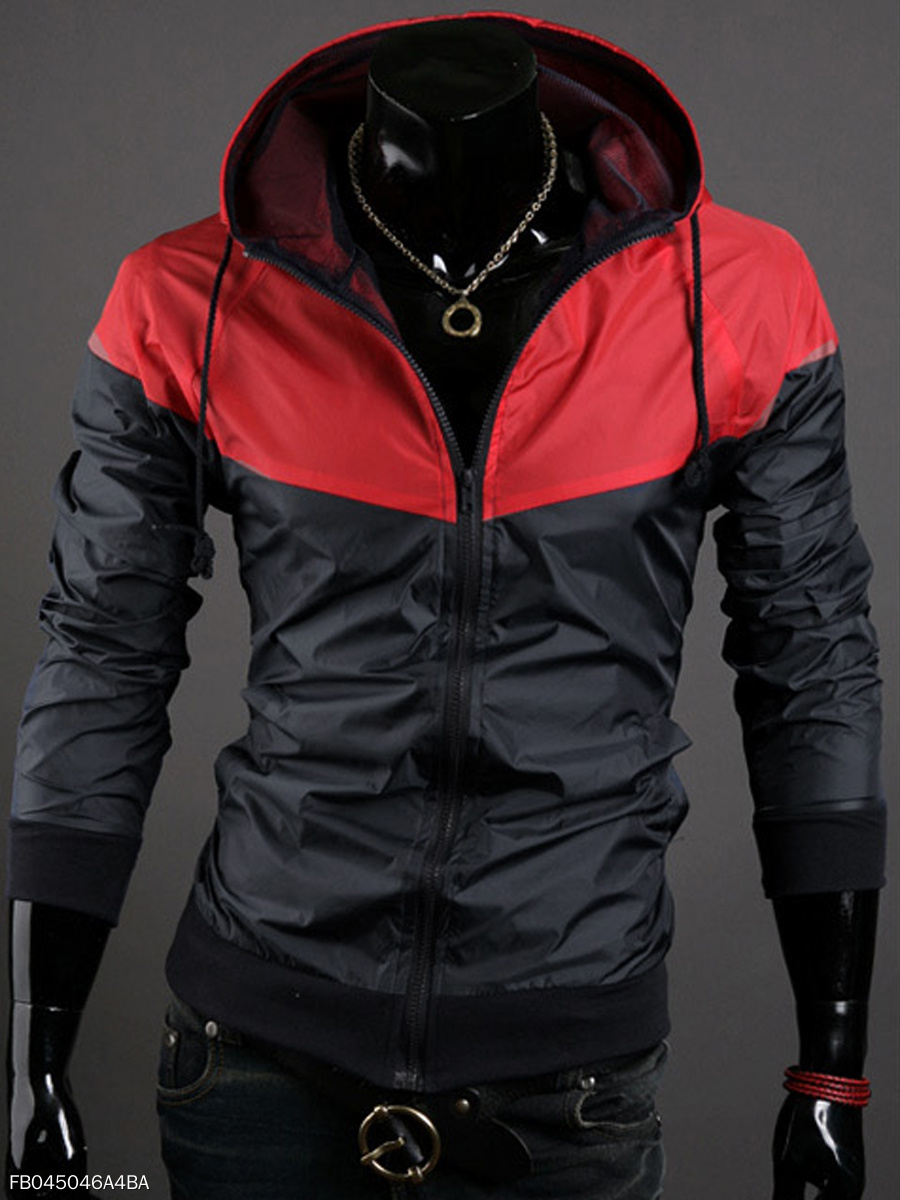 Hooded Pocket Color Block Men Jacket