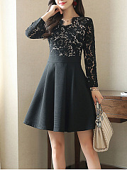 Asymmetric Neck Patchwork Skater Dress