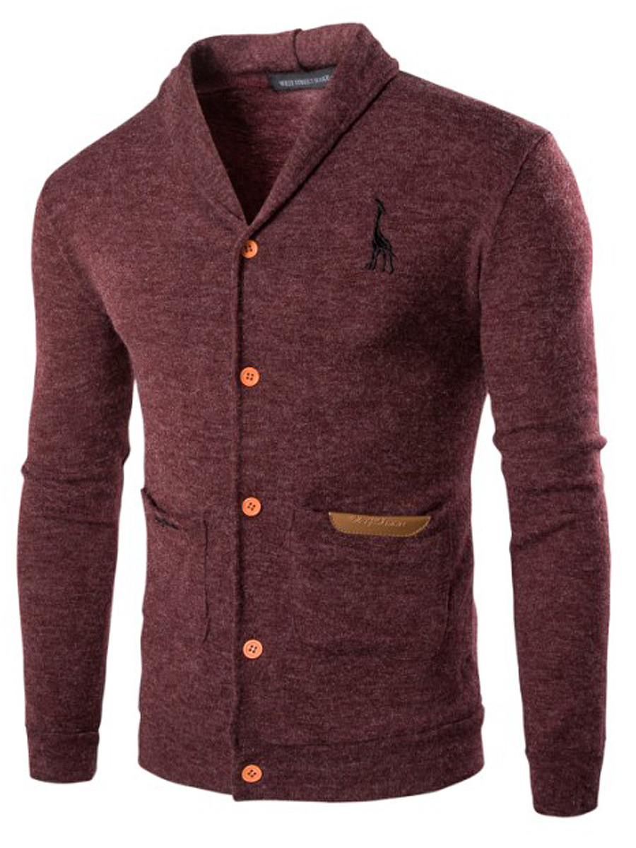 Shawl Collar Patch Pocket Single Breasted Men Cardigan