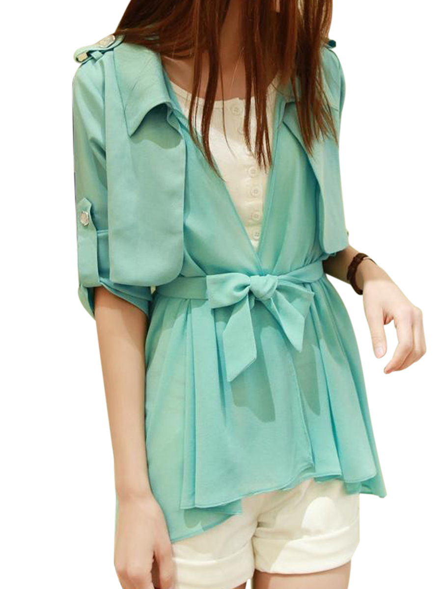 Image For Turn Down Collar  Belt  Plain  Long Sleeve Trench Coats