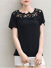 Spring Summer  Polyester  Women  Round Neck  Decorative Lace  Hollow Out Short Sleeve T-Shirts