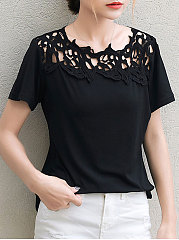 Spring-Summer-Polyester-Women-Round-Neck-Decorative-Lace-Hollow-Out-Short-Sleeve-T-Shirts