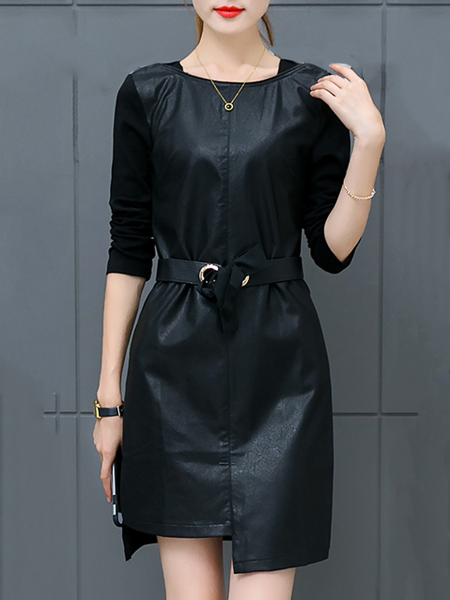 Asymmetric Hem Belt Plain PU Leather Mini Bodycon Dress
