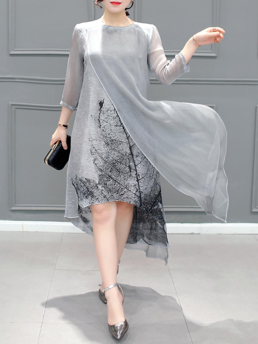 asymmetric hem side slit printed shift casual autumn spring elegant Round Neck Asymmetric Hem Side Slit Printed Shift Dress